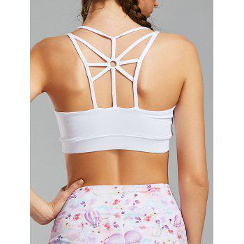 Back Cutout Strappy Sports Padded Bra - WHITE WHITE