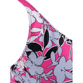 Padded Floral  High Waisted Plus Size Tankini Set - ROSE RED XL