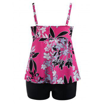 Padded Floral  High Waisted Plus Size Tankini Set - ROSE RED 5XL