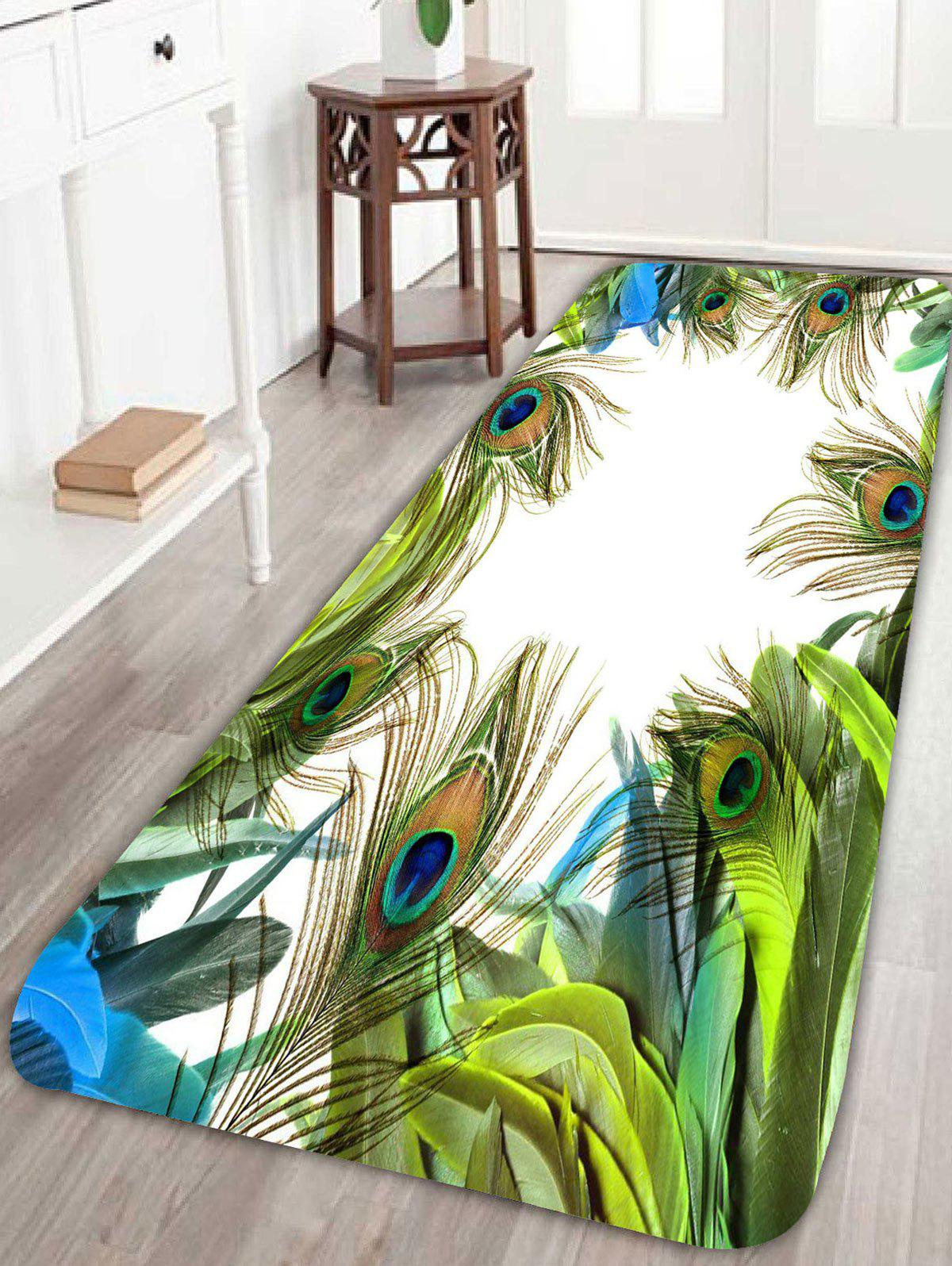 Peacock bathroom rug