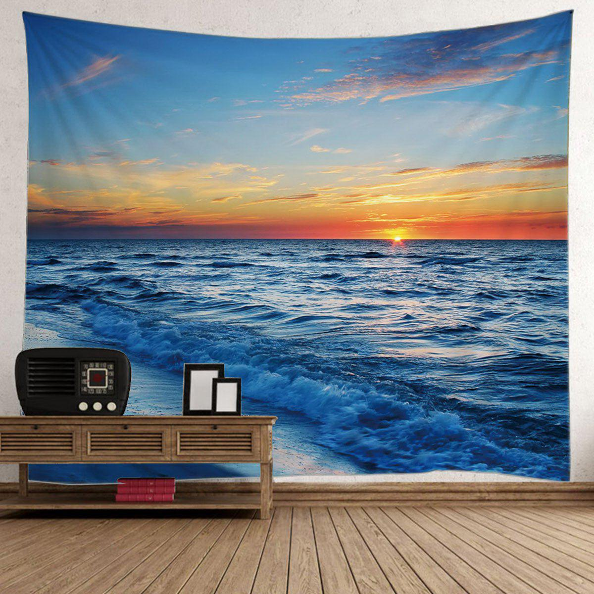 Seaside Sunset Wall Decor Tapestry sunset wooden bridge wall decor waterproof tapestry