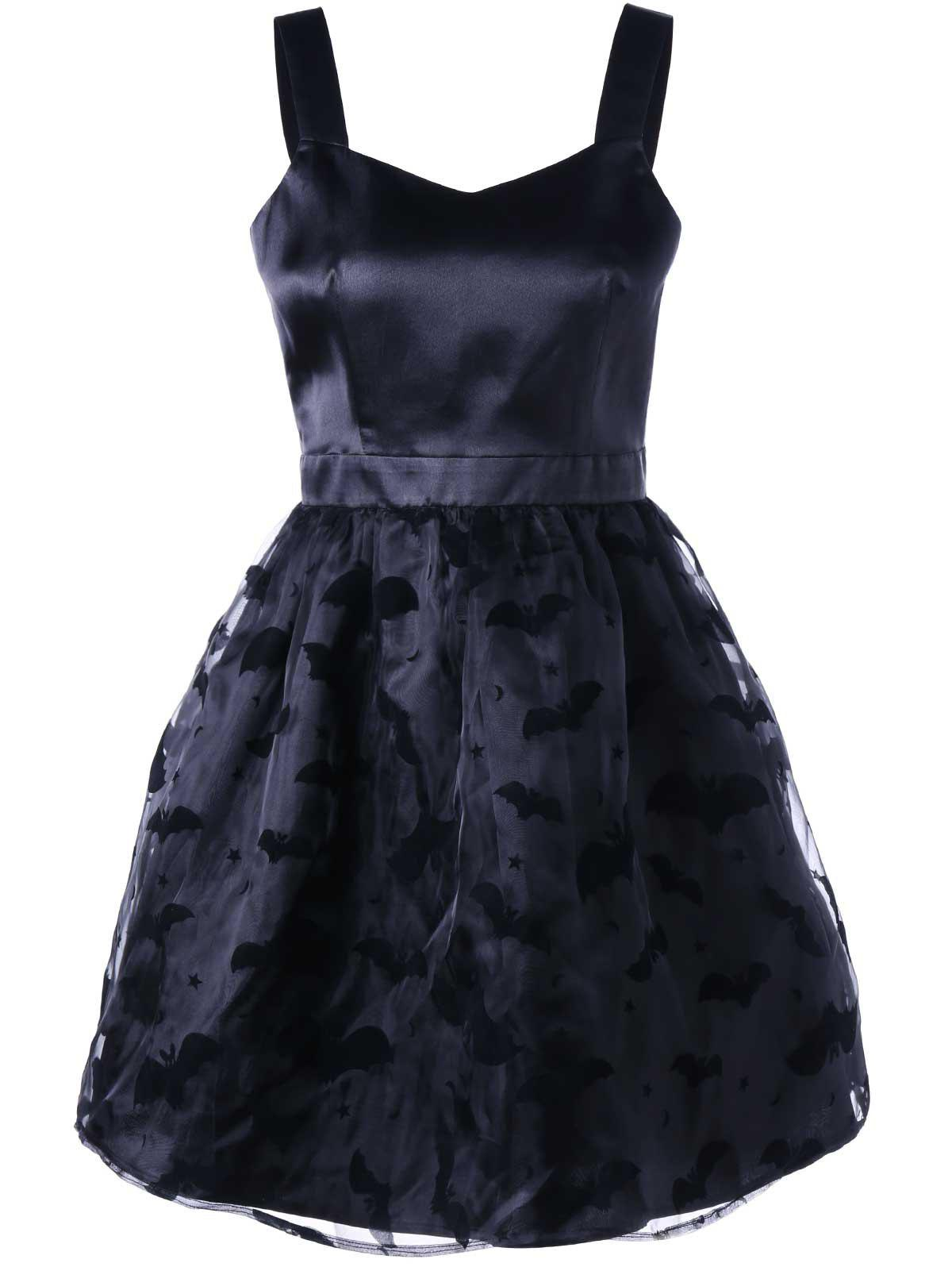 Bat Pattern Sweetheart Neck Party Dress - BLACK M