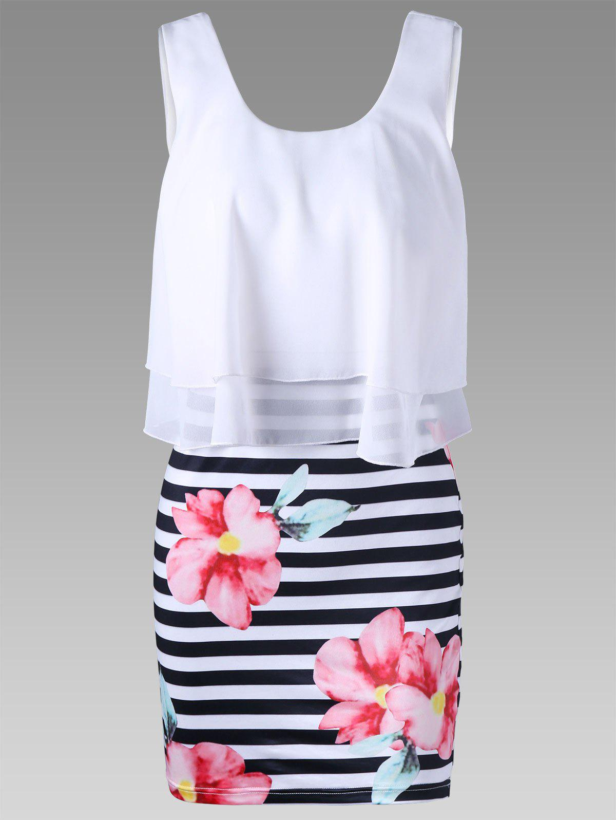 Floral and Striped Tight Popover Dress - WHITE M