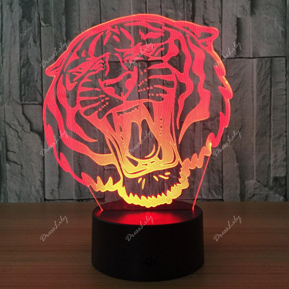 3D Tiger Shape Color Changing Decorative LED Night Light - TRANSPARENT