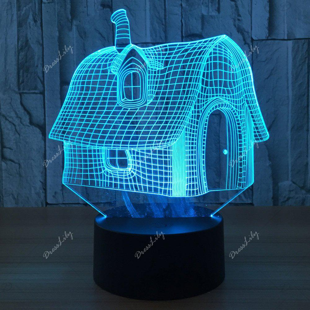 Color Change 3D LED House Shape Touch Night Light - TRANSPARENT
