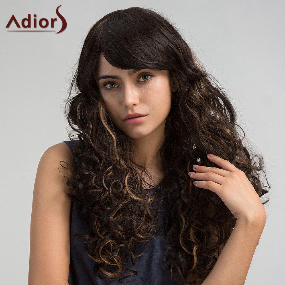 Adiors Long Colormix Side Bang Layered Shaggy Curly Synthetic Wig adiors colormix long side bang half braided wavy synthetic wig