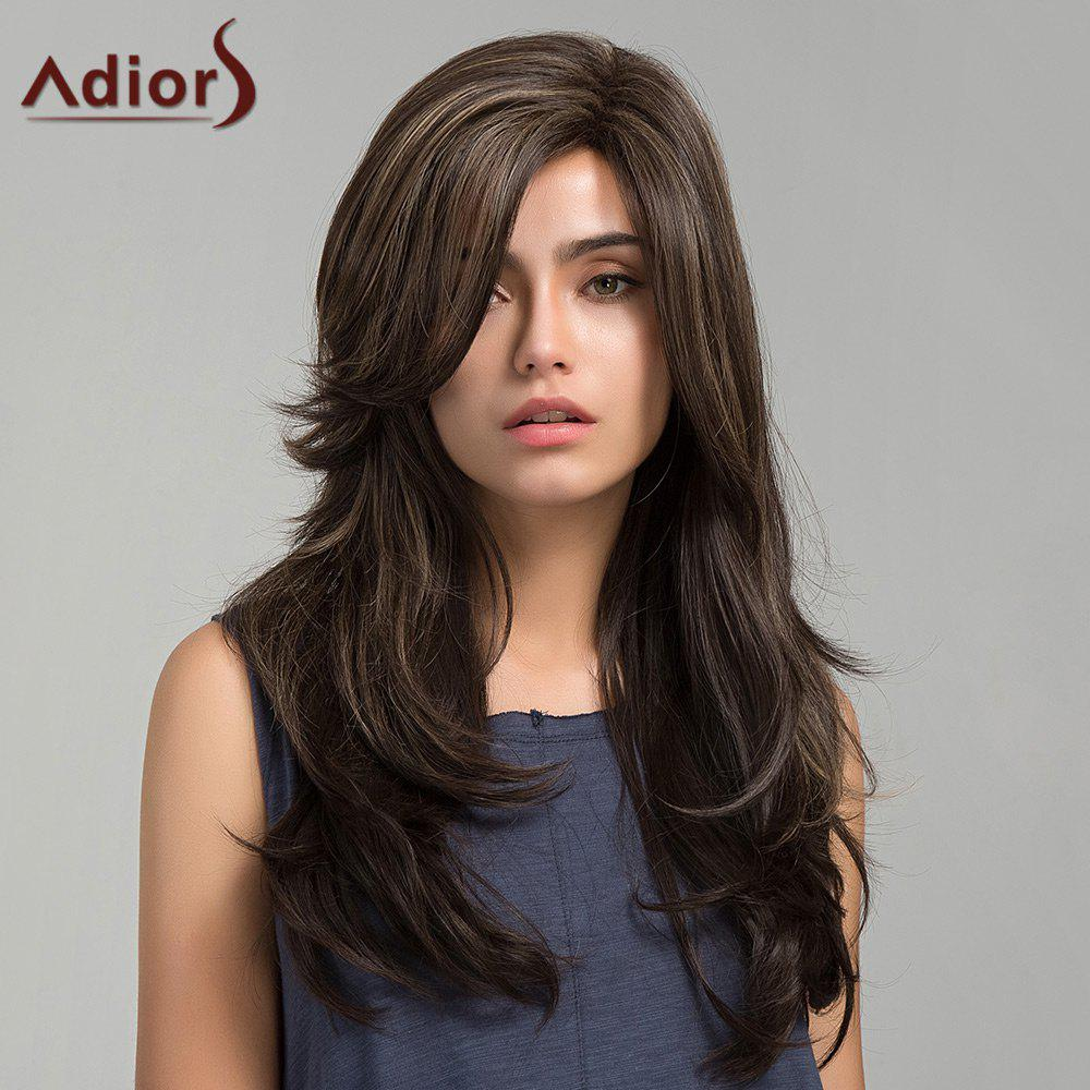 Adiors Long Side Bang Slightly Curly Colormix Synthetic Wig adiors colormix long side bang half braided wavy synthetic wig
