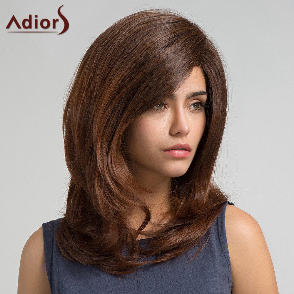Adiors Long Inclined Bang Slightly Curly Synthetic Wig - BROWN