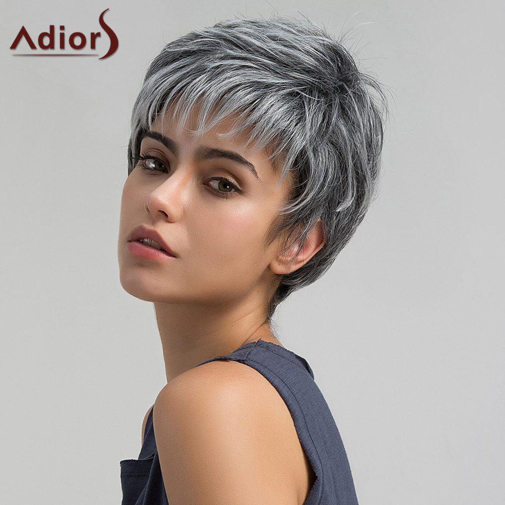Adiors Short Inclined Bang Shaggy Layered Straight Pixie Synthetic Wig short pixie cut capless straight inclined bang synthetic wig