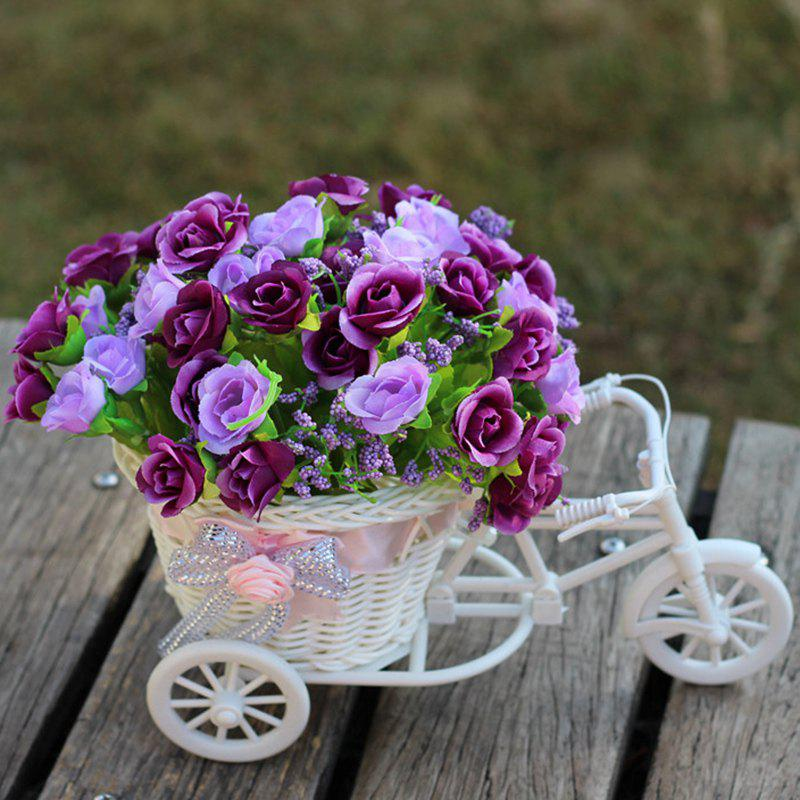 Living Room Wedding Decoration Artificial Flowers With Basket Bike - PURPLE