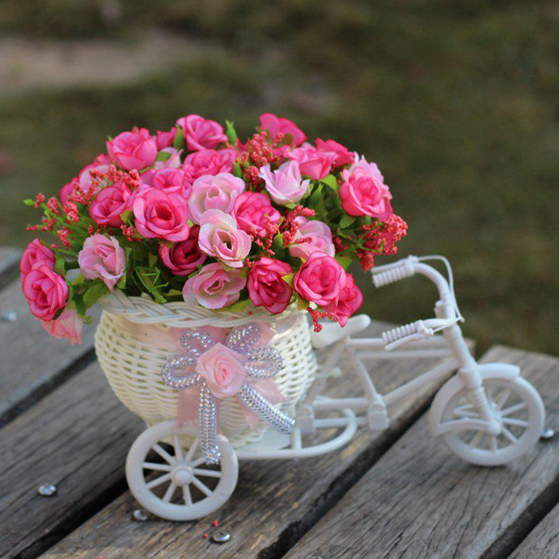 Living Room Wedding Decoration Artificial Flowers With Basket Bike - PINK