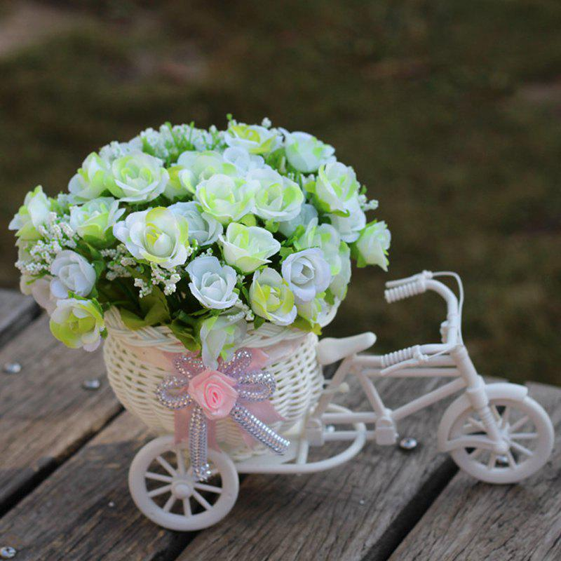 Living Room Wedding Decoration Artificial Flowers With Basket Bike - WHITE