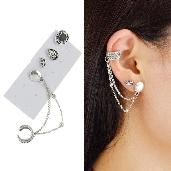Ear Cuff with Vintage Teardrop Stud Earring Set rhinestone faux pearl ear cuff and stud earring