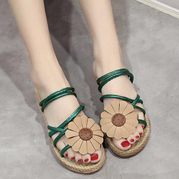Flower Cross Strap Flat Heel Slippers - GREEN 38