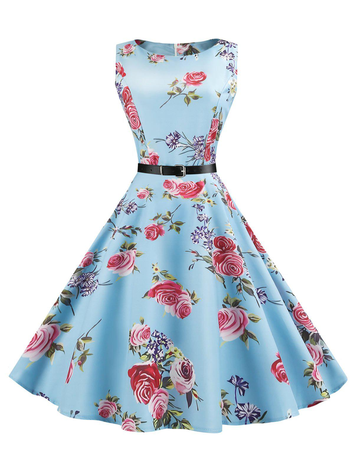 Floral Sleeveless Vintage Dress - WINDSOR BLUE M