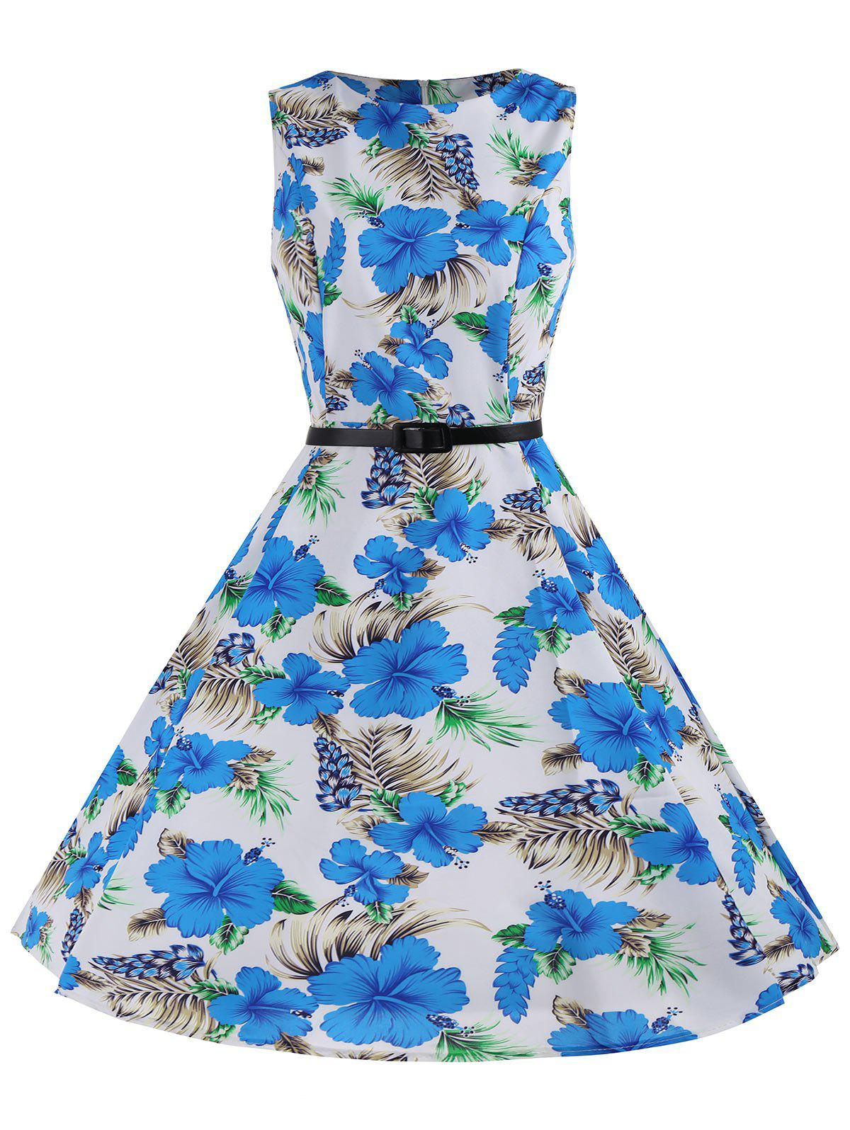 Printed Belted Sleeveless A Line Dress - BLUE/WHITE 2XL