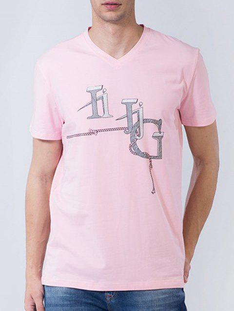 3D String Graphic Print Short Sleeve T-shirt - PINK L