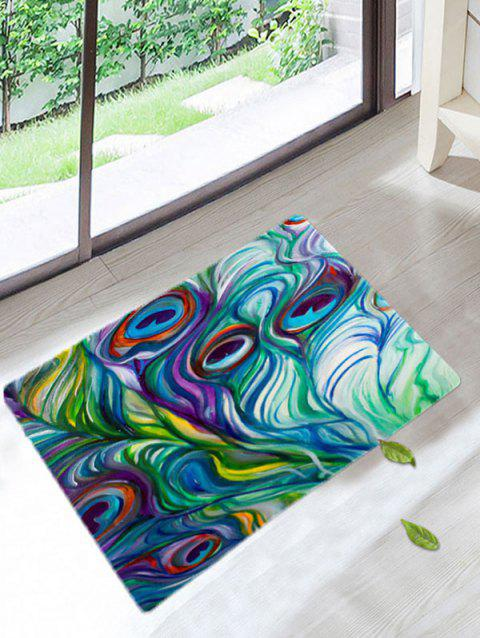 Peacock Feathers Coral Fleece Bath Rug   COLORFUL W20 INCH * L31.5 INCH