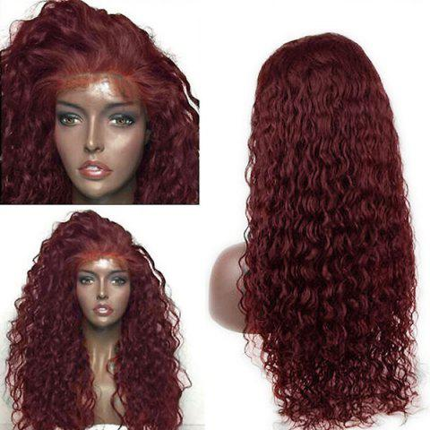 Dyed Perm Long Deep Side Parting Water Wave Lace Front Human Hair Wig - WINE RED 20INCH
