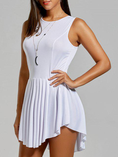 Women's Fashionable Solid Color Scoop Neck Asymmetric Pleated Sleeveless Dress - WHITE L