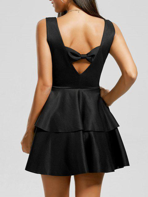 Bowknot Cut Out Layered Flouce Dress - Noir XL