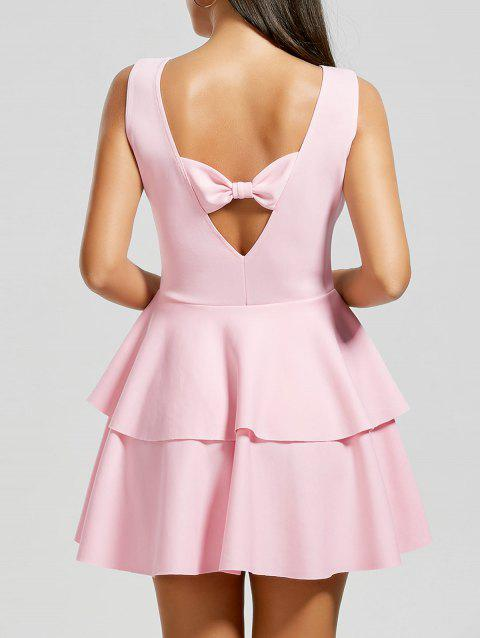 Bowknot Cut Out Layered Flouce Dress - Rose M
