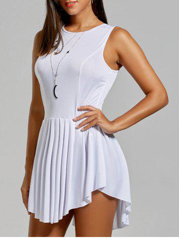 a610c4356ce Women s Fashionable Solid Color Scoop Neck Asymmetric Pleated Sleeveless  Dress