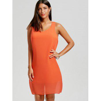 Bowknot Chiffon Mini Tank Dress - ORANGE S