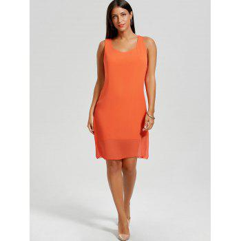 Bowknot Chiffon Mini Tank Dress - ORANGE ORANGE