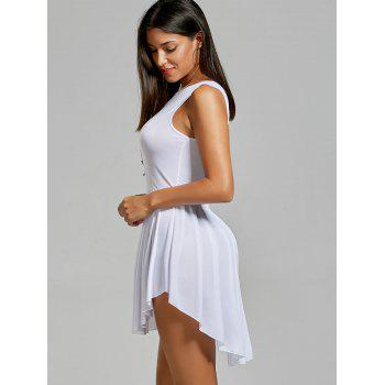 Women's Fashionable Solid Color Scoop Neck Asymmetric Pleated Sleeveless Dress - WHITE S