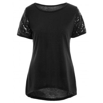 High Low Sequin Short Sleeve T-shirt