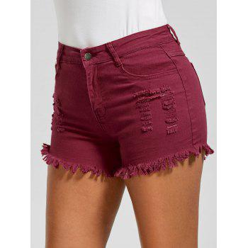 Skinny Ripped Frayed Hem Denim Shorts