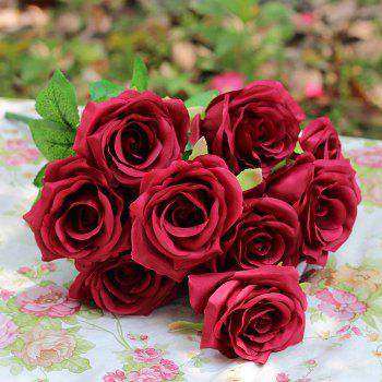 Home Decoration Flower Arrangement Artificial Roses - WINE RED WINE RED