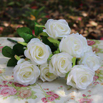 Home Decoration Flower Arrangement Artificial Roses - WHITE WHITE