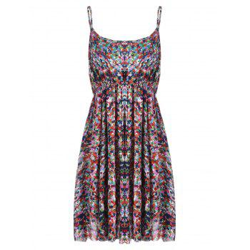 Plus Size Printed Elastic Waist Beach Slip Dress