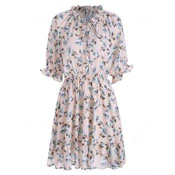 Plus Size Ruffle Chiffon Floral Skater Dress