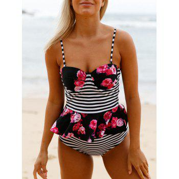 High Waisted Ruffle Peplum Tankini Set