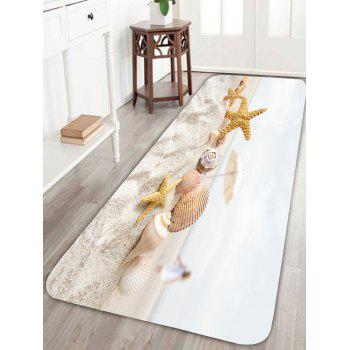 Beach Umbrella Starfish Conch Print Bath Rug