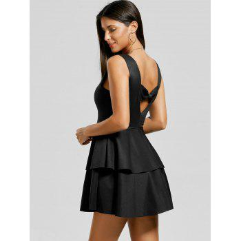 Bowknot Cut Out Back Layered Flouce Dress - BLACK XL