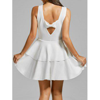 Bowknot Cut Out Back Layered Flouce Dress - WHITE WHITE