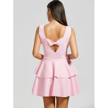 Bowknot Cut Out Back Layered Flouce Dress - PINK M