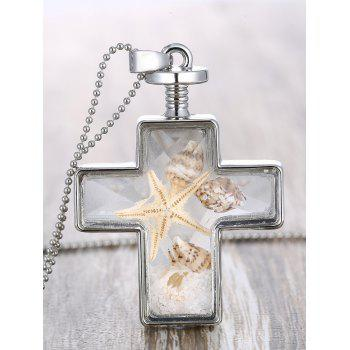 Cross Tiny Shell Inlay Pendant Necklace
