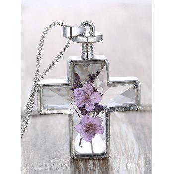Dried Flowers Inlaid Cross Beaded Chain Necklace
