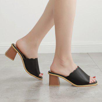 Faux Leather Scalloped Block Heel Slippers