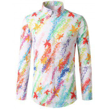 Hidded Button Colorful Maple Leaf Printed Shirt