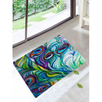 Peacock Feathers Coral Fleece Bath Rug