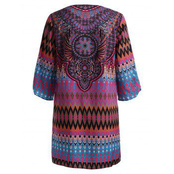 V Neck Tassel Tribal Print Mini Dress - RED 2XL