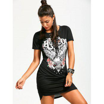 Ruched Lace Up Front Punk Print Dress