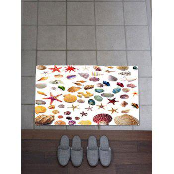 Antiskid Starfish Conch Print Bath Rug - COLORFUL W20 INCH * L31.5 INCH