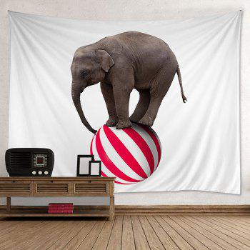Wall Hanging Art Decor Elephant On A Ball Print Tapestry - COLORMIX W59 INCH*L51 INCH